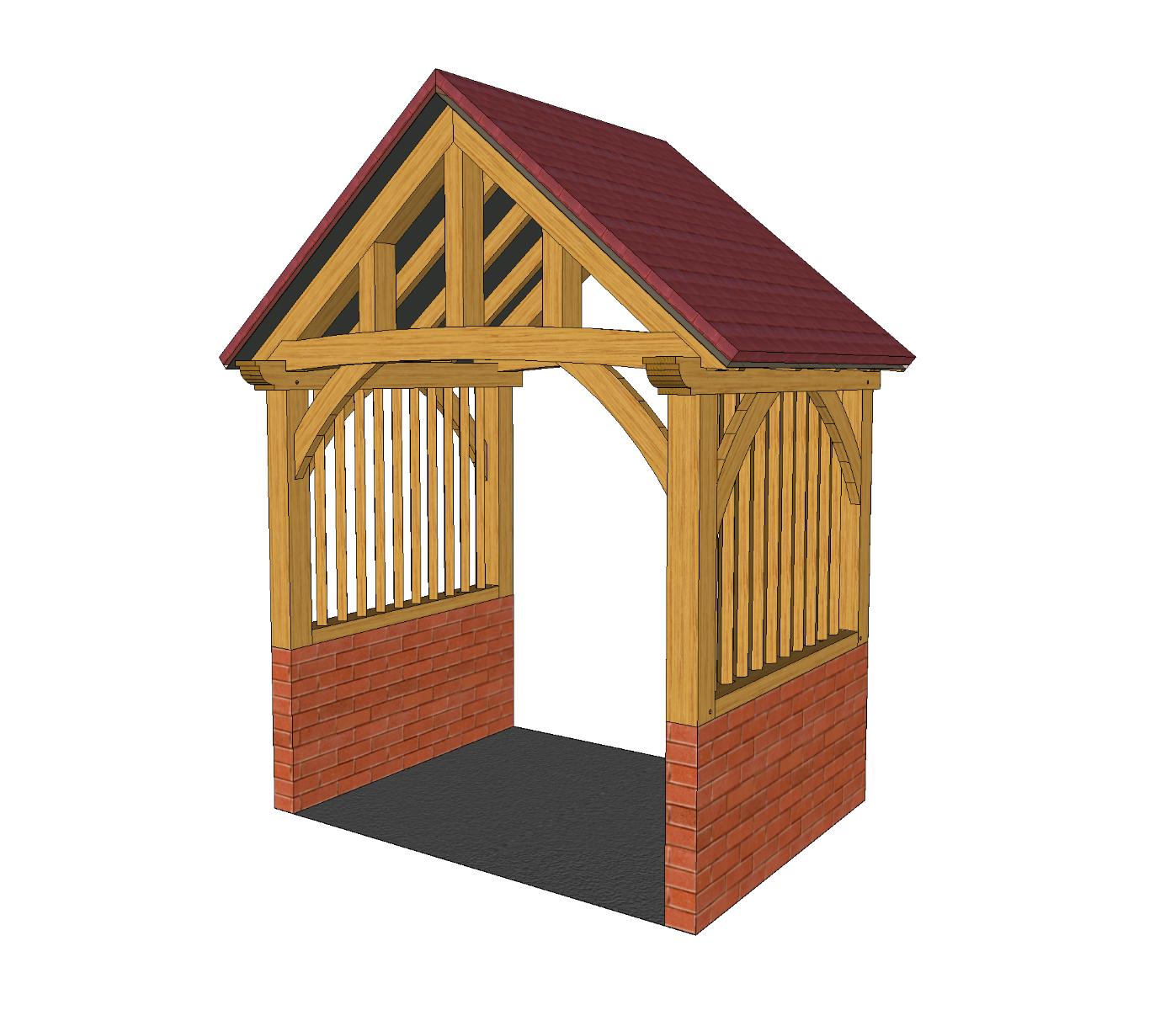 High Brick Plinth Porch with Mullions